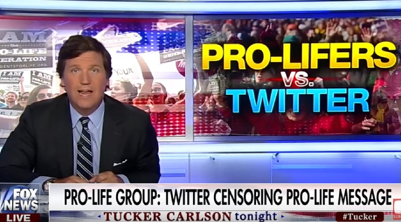 tucker carlson spotlights twitter censorship of pro life group