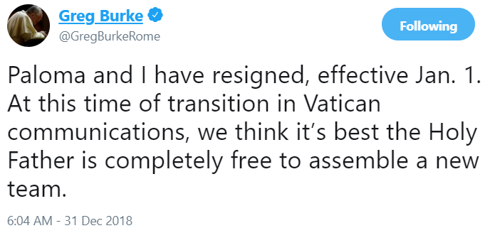 Vatican Spokesman Quits After Shake-Up