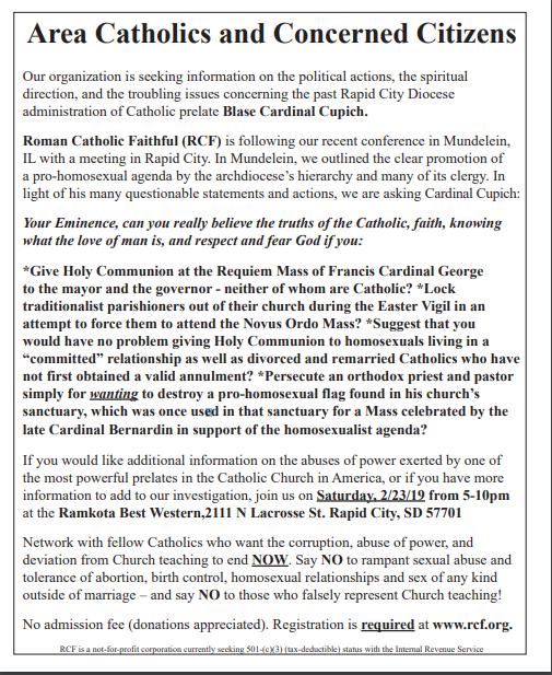 2c554e74fc The newspaper ad for Roman Catholic Faithful's meeting in Rapid City.